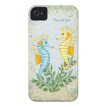 Beach Themed Fantasy Seahorse and Bling iPhone 4 Cover