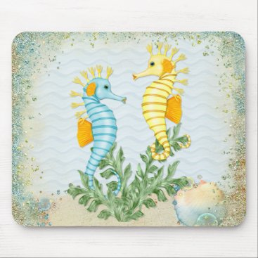 Beach Themed Fantasy Seahorse and Bling Mouse Pad