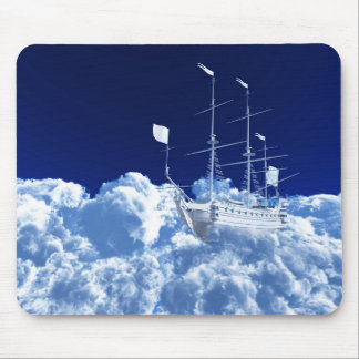 Fantasy Ship in Clouds Mouse Pad
