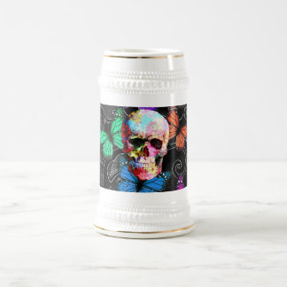 Fantasy skull and colored butterflies beer stein