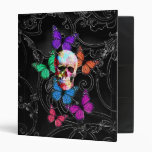 Fantasy skull and colored butterflies binder