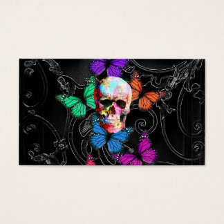 Fantasy skull and colored butterflies business card