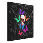 Fantasy skull and colored butterflies canvas prints