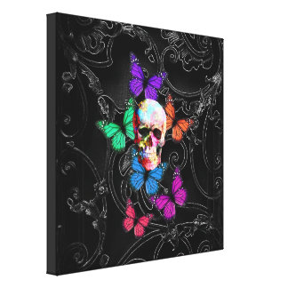 Fantasy skull and colored butterflies canvas print