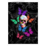 Fantasy skull and colored butterflies stationery note card