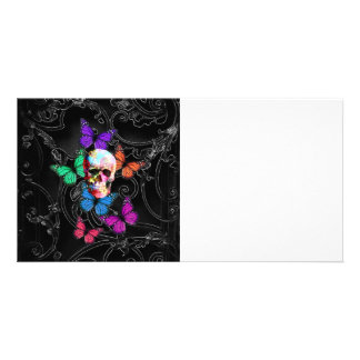 Fantasy skull and colored butterflies card