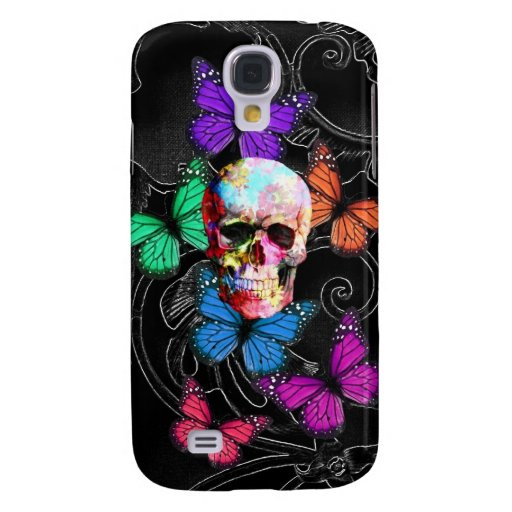 Fantasy skull and colored butterflies galaxy s4 case