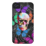 Fantasy skull and colored butterflies iPhone 4 covers