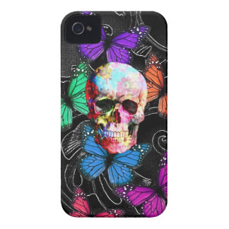 Fantasy skull and colored butterflies iPhone 4 Case-Mate cases