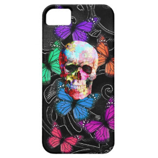 Fantasy skull and colored butterflies iPhone 5 cases