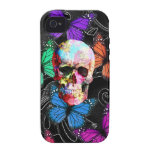 Fantasy skull and colored butterflies Case-Mate iPhone 4 case