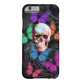 Fantasy skull and colored butterflies barely there iPhone 6 case