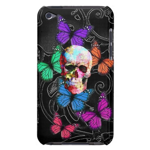 Fantasy skull and colored butterflies barely there iPod cases