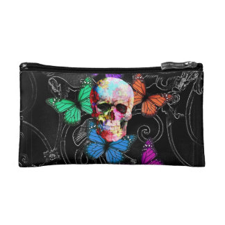 Fantasy skull and colored butterflies cosmetic bag
