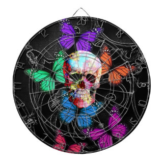 Fantasy skull and colored butterflies dart board