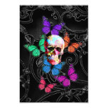 Fantasy skull and colored butterflies personalized invitation