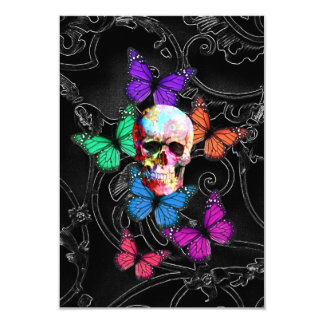 Fantasy skull and colored butterflies 3.5x5 paper invitation card