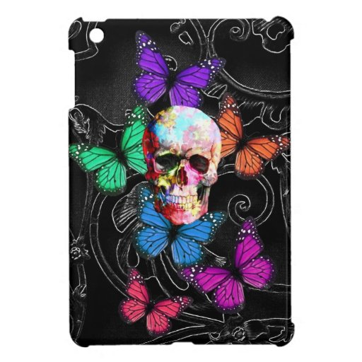 Fantasy skull and colored butterflies cover for the iPad mini