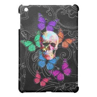 Fantasy skull and colored butterflies iPad mini cases