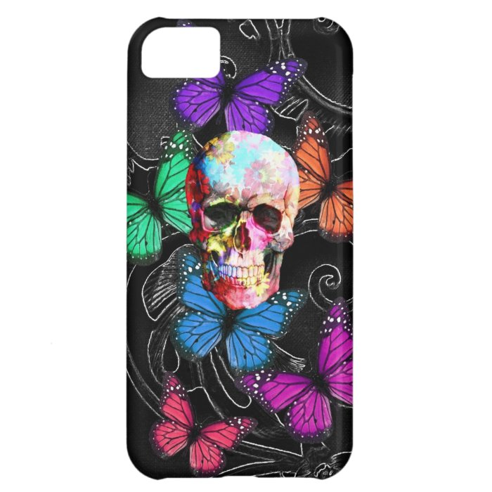 Fantasy skull and colored butterflies iPhone 5C cover
