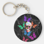 Fantasy skull and colored butterflies basic round button keychain