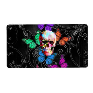 Fantasy skull and colored butterflies label
