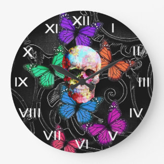 Fantasy skull and colored butterflies large clock