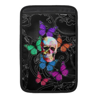 Fantasy skull and colored butterflies MacBook air sleeve