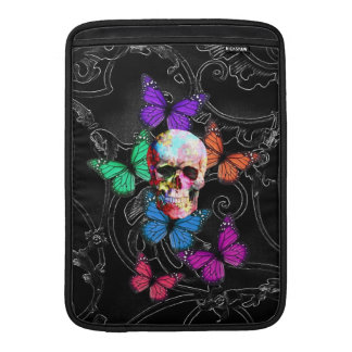 Fantasy skull and colored butterflies MacBook sleeve