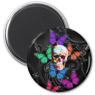 Fantasy skull and colored butterflies magnet