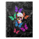 Fantasy skull and colored butterflies notebooks