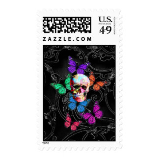 Fantasy skull and colored butterflies postage stamp