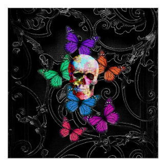Fantasy skull and colored butterflies poster