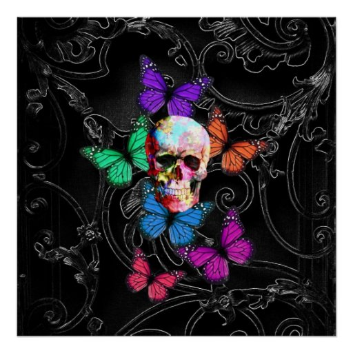 Fantasy skull and colored butterflies print