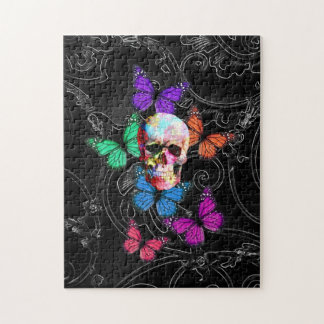 Fantasy skull and colored butterflies puzzle