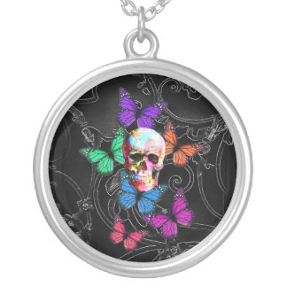 Fantasy skull and colored butterflies round pendant necklace