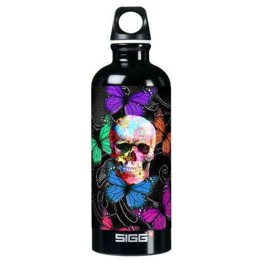 Fantasy skull and colored butterflies SIGG traveler 0.6L water bottle