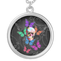 Fantasy skull and colored butterflies silver plated necklace
