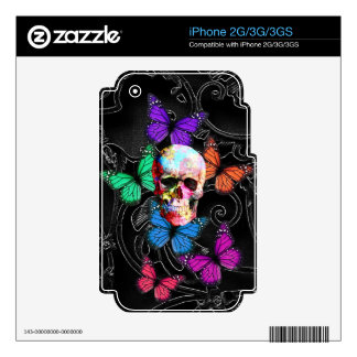 Fantasy skull and colored butterflies skin for iPhone 3GS