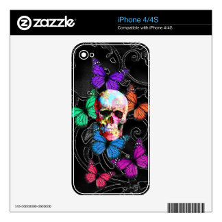 Fantasy skull and colored butterflies skin for iPhone 4