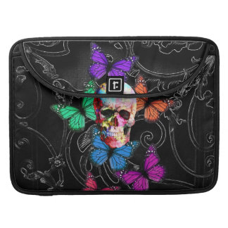 Fantasy skull and colored butterflies sleeve for MacBooks