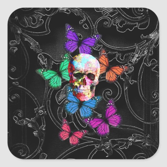 Fantasy skull and colored butterflies square sticker