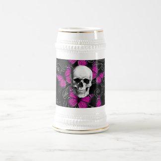 Fantasy skull and hot pink butterflies beer stein