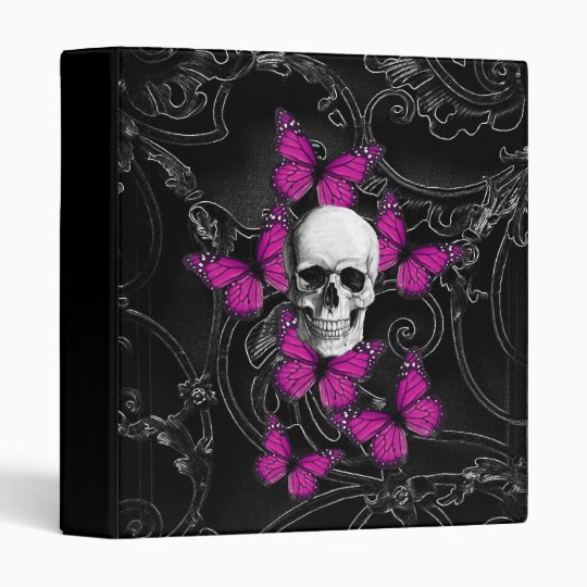 Fantasy skull and hot pink butterflies binder
