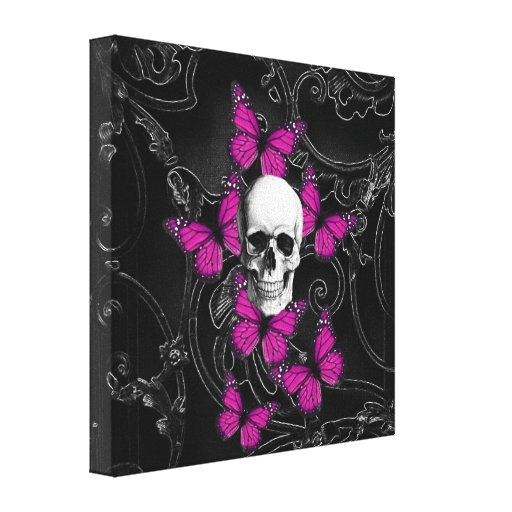 Fantasy skull and hot pink butterflies stretched canvas print