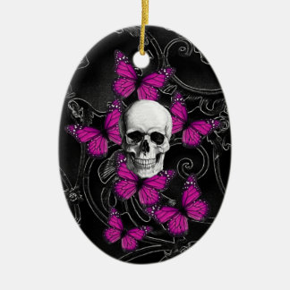 Fantasy skull and hot pink butterflies ceramic ornament