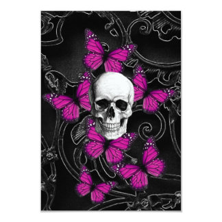 Fantasy skull and hot pink butterflies 3.5x5 paper invitation card