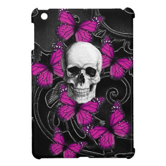 Fantasy skull and hot pink butterflies iPad mini cover