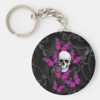 Fantasy skull and hot pink butterflies keychain