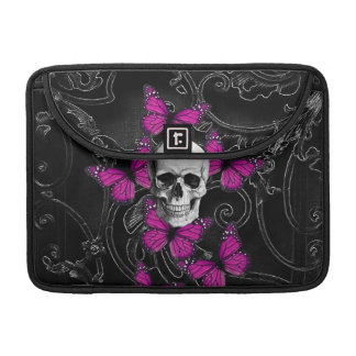 Fantasy skull and hot pink butterflies MacBook pro sleeve